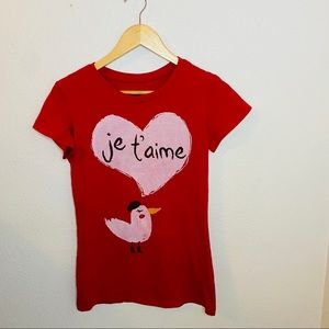 """Rue21 """"Je t'aime"""" Grafic Tee Size:Large"""